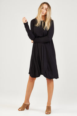 EASY L/S LOOSE DRESS - NOIR