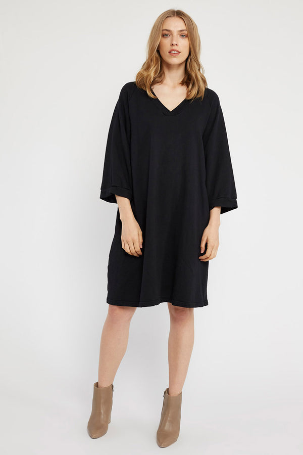 LOTUS RAGLAN DRESS - NOIR
