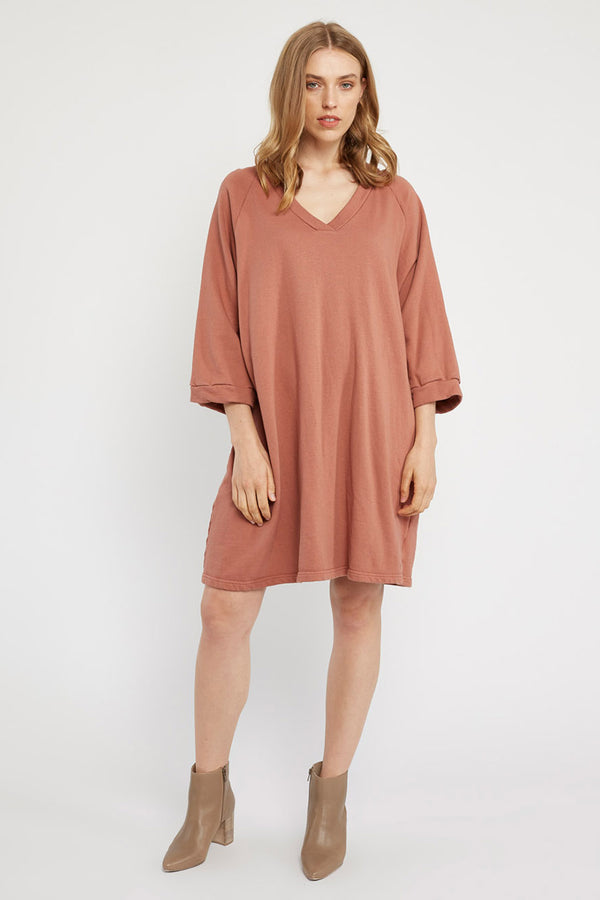 LOTUS RAGLAN DRESS - BRICK