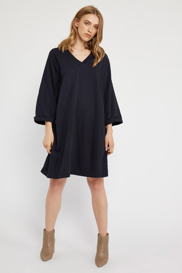 LOTUS RAGLAN DRESS - DARK NAVY