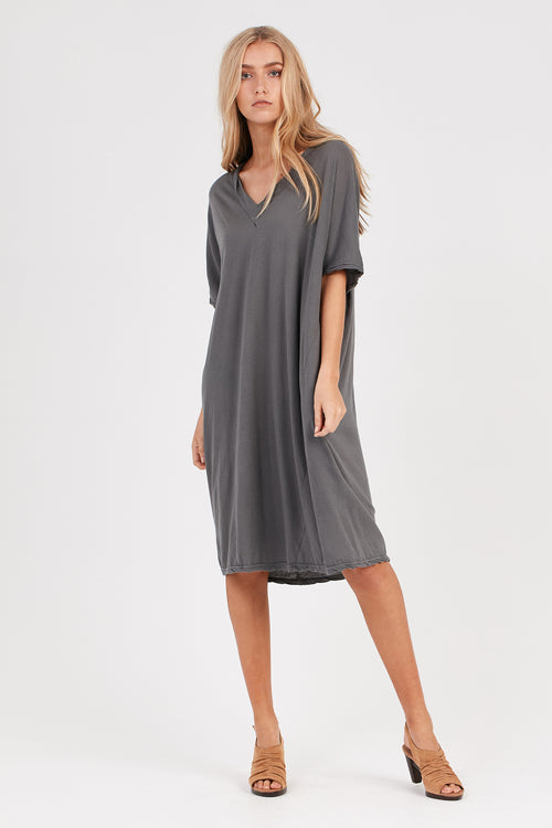 LOOSE V-NECK DRESS - STARGAZE GREY