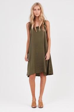 DAISY TANK DRESS - KHAKI (FINAL SALE)