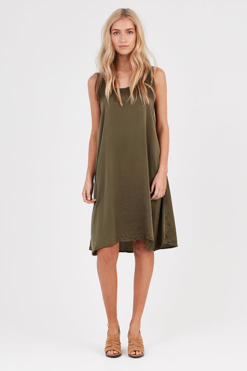 DAISY TANK DRESS - KHAKI
