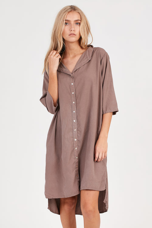 KUL SHIRT DRESS - EXPRESSO BROWN