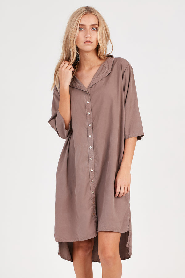 KUL SHIRT DRESS - EXPRESSO BROWN - SIZE 1 LEFT