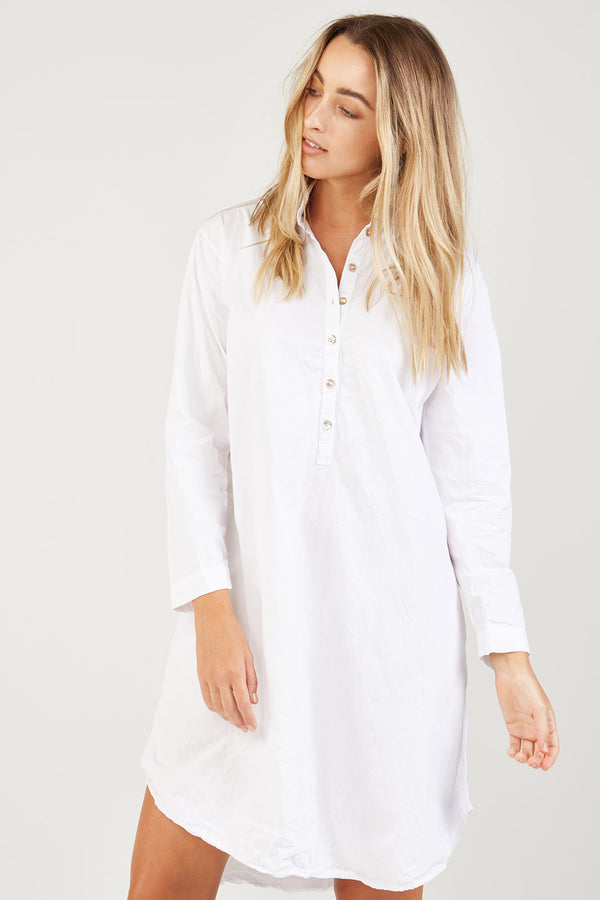BINDIE SHIRT DRESS - BLANC