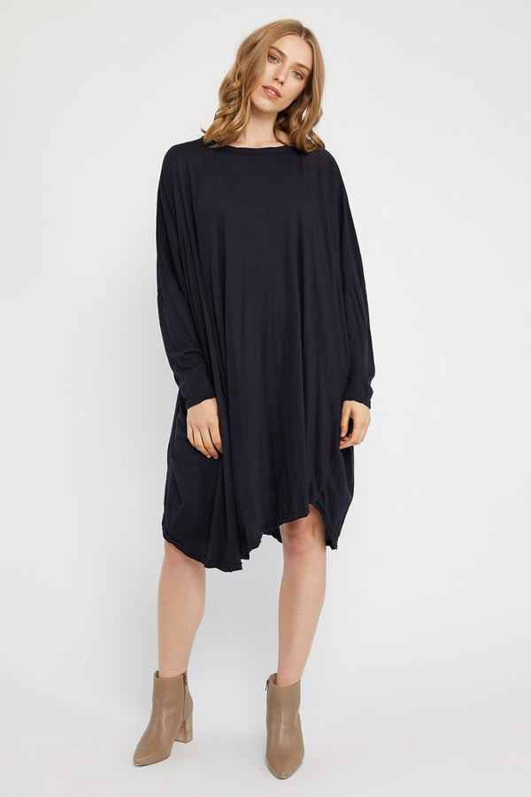 FAXI L/S DRESS - DARK NAVY