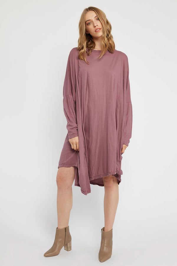 FAXI L/S DRESS - PLUM