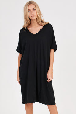 LOOSE V-NECK DRESS - NOIR