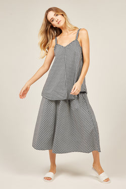 PEONY SKIRT - BLACK & WHITE POLKA DOT