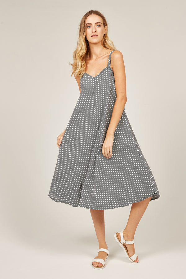 PEONY SUNDRESS - BLACK & WHITE POLKA DOT (FINAL SALE)