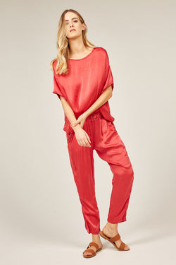 FLUID EVENING PANT - FESTIVE RED