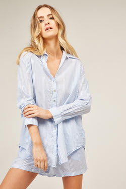 JETTY STRIPED SHIRT - AQUA STRIPE