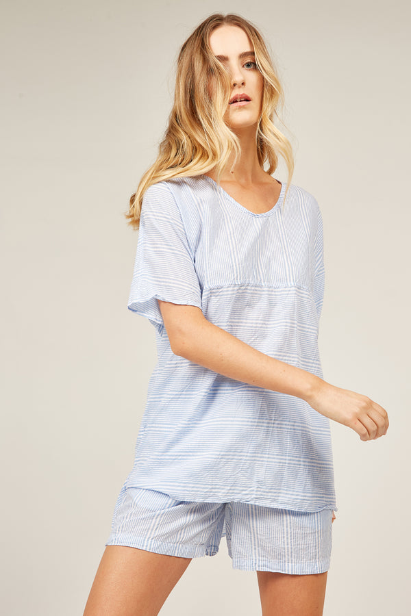 JETTY STRIPED TOP - AQUA (FINAL SALE)