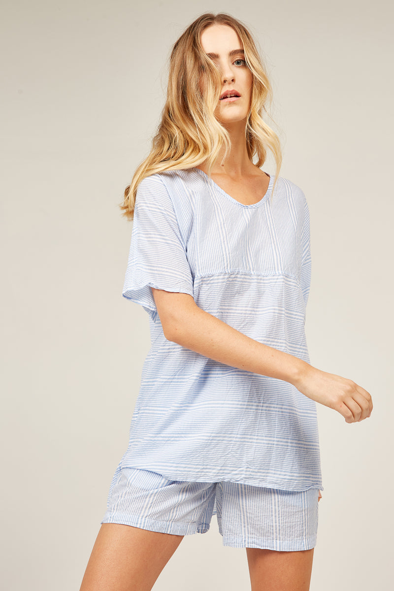 JETTY STRIPED TOP - AQUA STRIPE