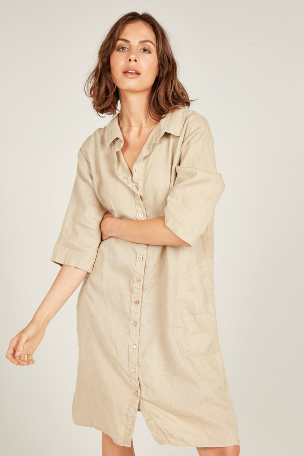SEASIDE SHIRT DRESS - CAMEL