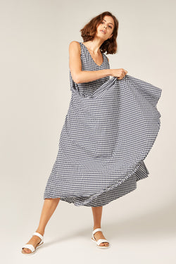 BYRON SUNSETS DRESS - NAVY GINGHAM