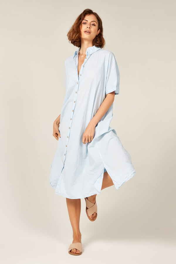 DEVOILE SHIRT DRESS - POWDER BLUE