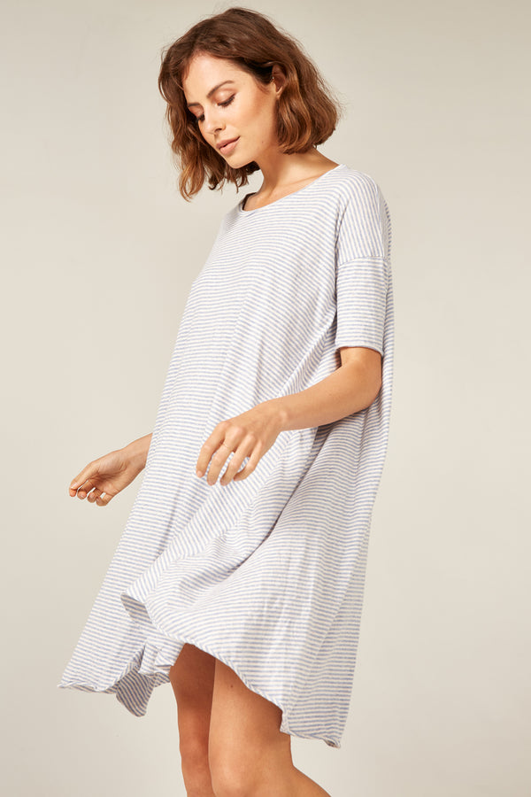 POP STRIPE TEE DRESS - OCEAN & OATMEAL