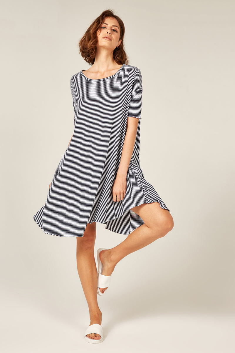 POP STRIPE TEE DRESS - NAVY & WHITE
