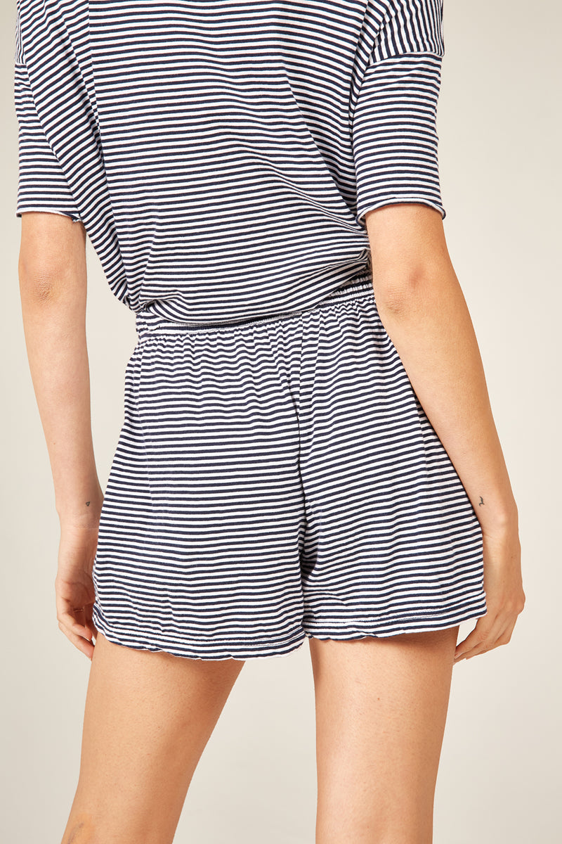 POP STRIPE SHORT - NAVY & WHITE