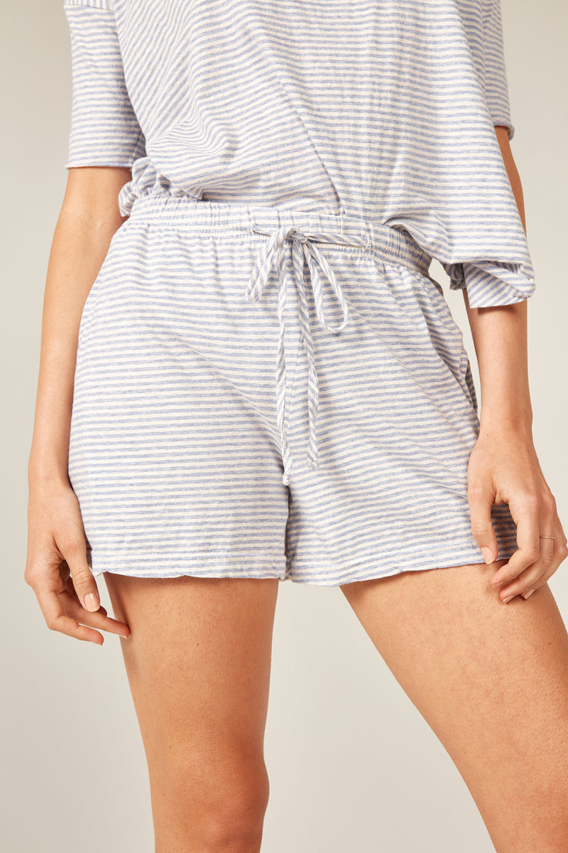 POP STRIPE SHORT - OCEAN & OATMEAL