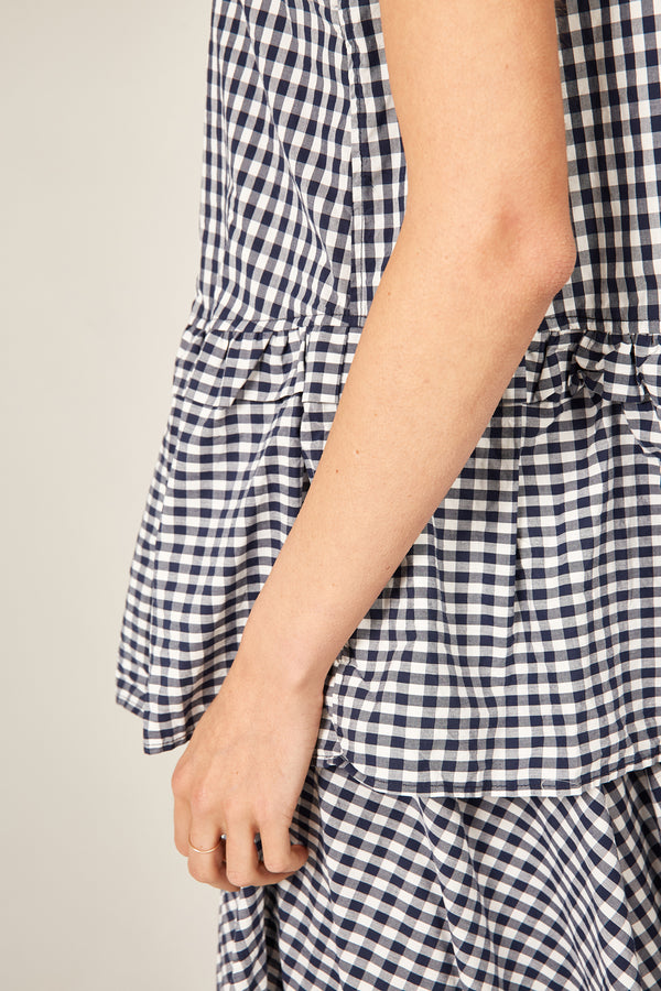 BYRON SUNSETS TANK - NAVY GINGHAM
