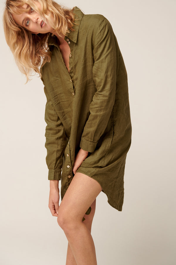 PARADISE SHIRT DRESS - LAKE GREEN