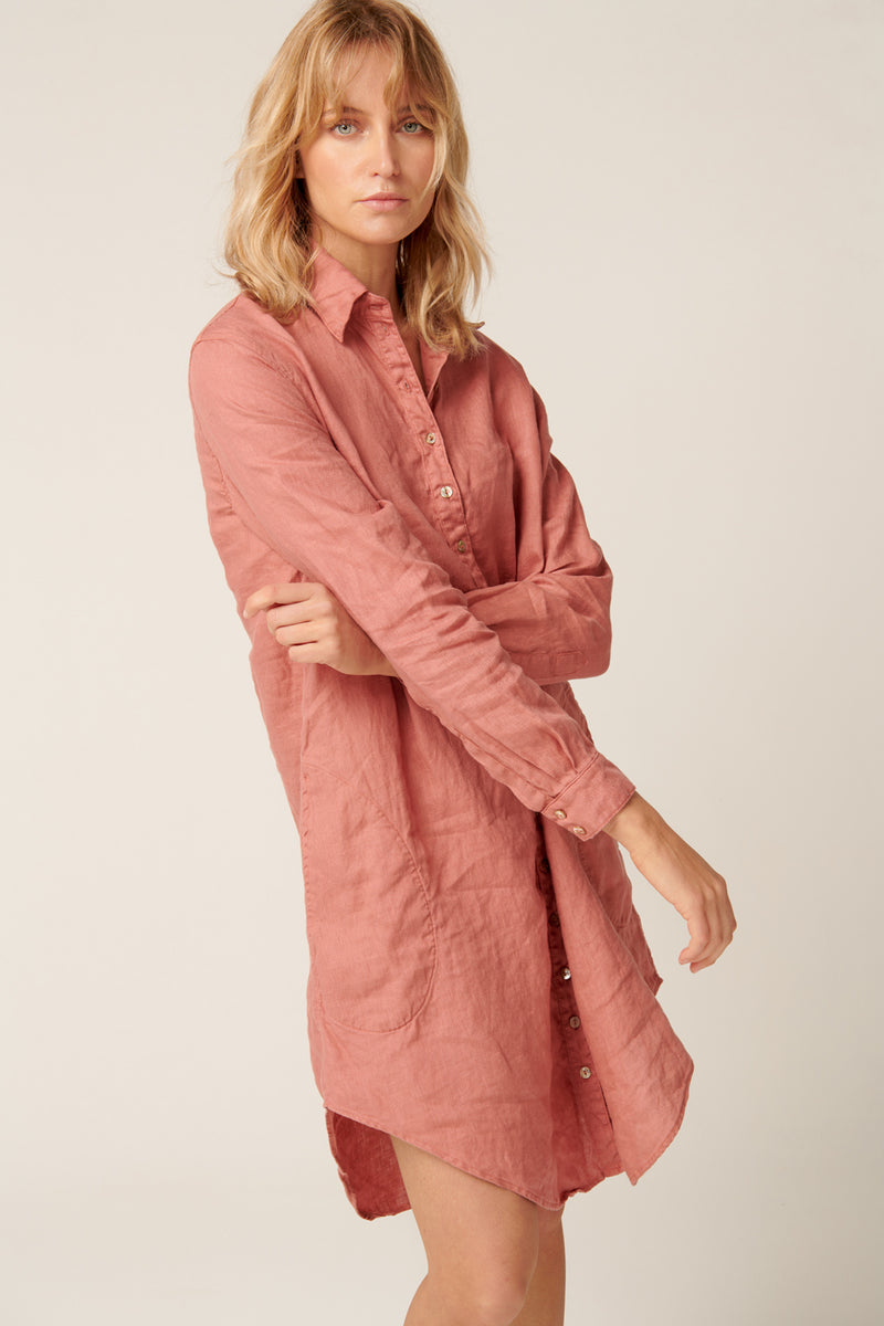 PARADISE SHIRT DRESS - DUSTY ROSE