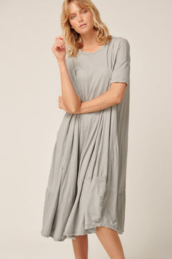 POP MIDI DRESS - SOFT GREY