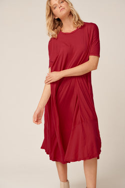 POP MIDI DRESS - WINE