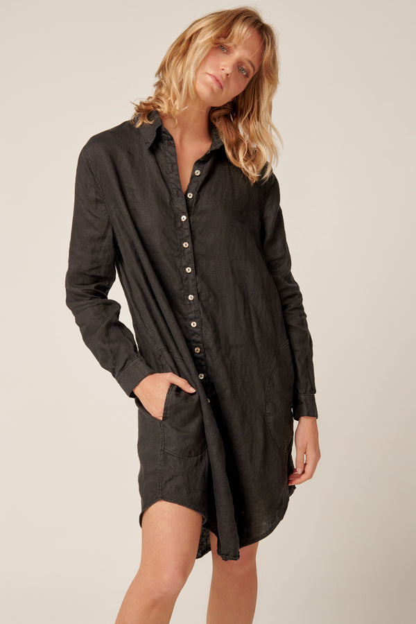 PARADISE SHIRT DRESS - NOIR