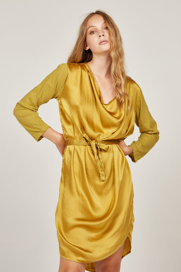 HELIO COWL DRESS - GOLDEN (FINAL SALE)
