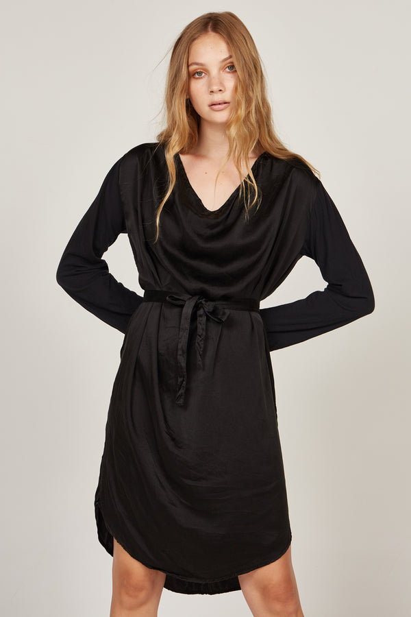 HELIO COWL DRESS - NOIR