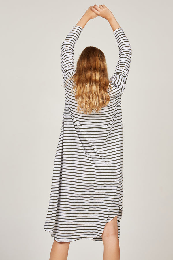 PIQI DRESS - KHAKI & GREY STRIPE