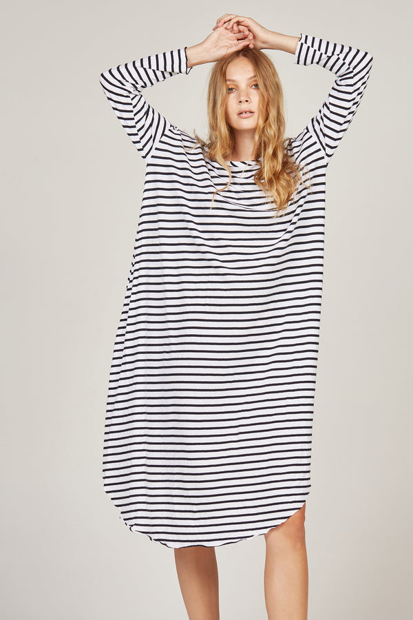 PIQI DRESS - BLACK & WHITE STRIPE