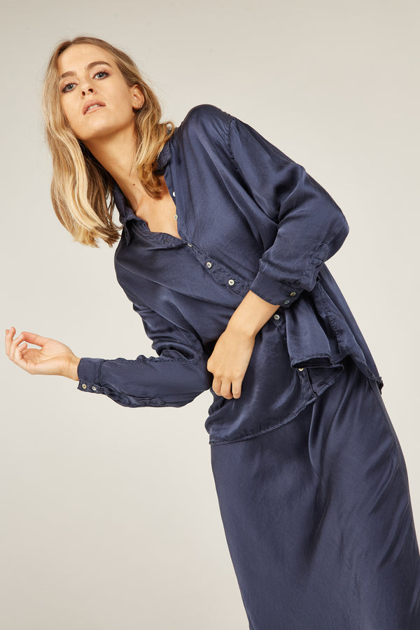 SATIN SHIRT - MIDNIGHT NAVY (PRE-ORDER)