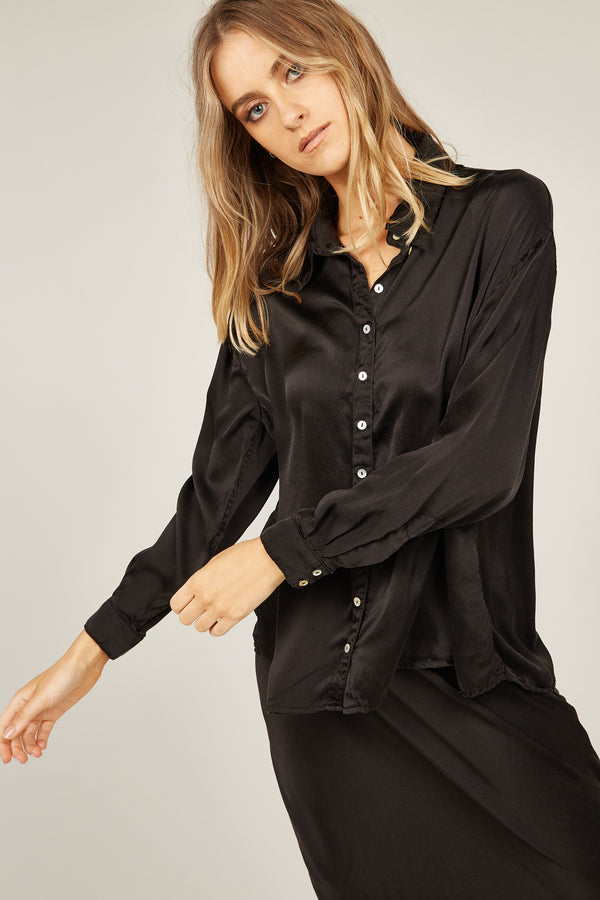 SATIN SHIRT - NOIR
