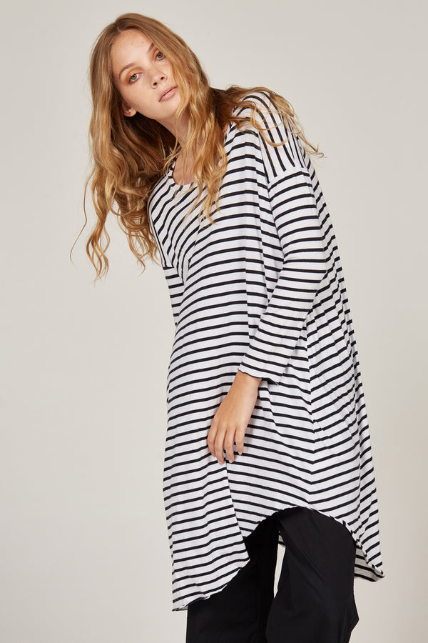 PIQI TUNIC - BLACK & WHITE STRIPE