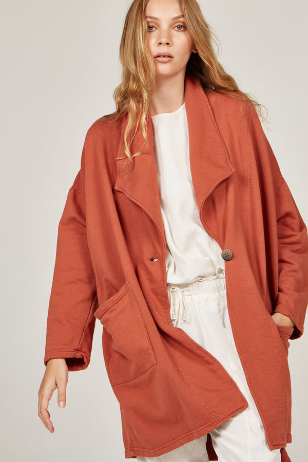 FLEECY JACKET - TERRACOTTA