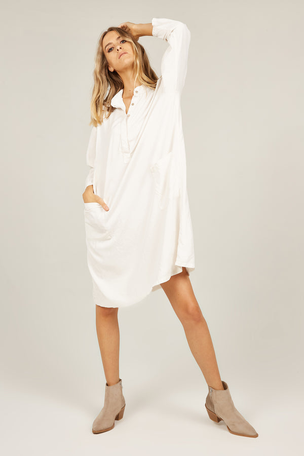 FLINDERS SHIRT DRESS - CREAMY