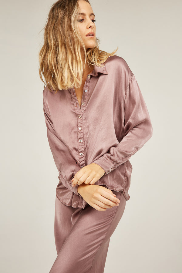 SATIN SHIRT - DUSTY PURPLE (PRE-ORDER)