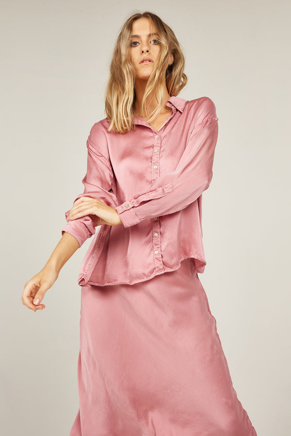 SATIN SHIRT - FUSCHIA