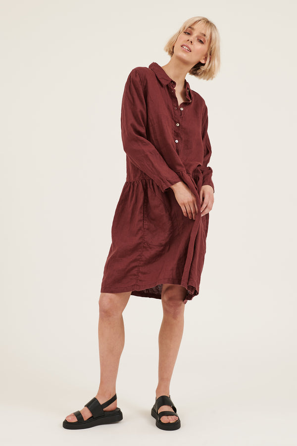 LIKO DRESS - BURGUNDY (PRE-ORDER)