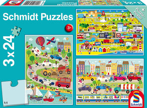 3 x 24 Pc Puzzle- A Colourful World of Vehicles