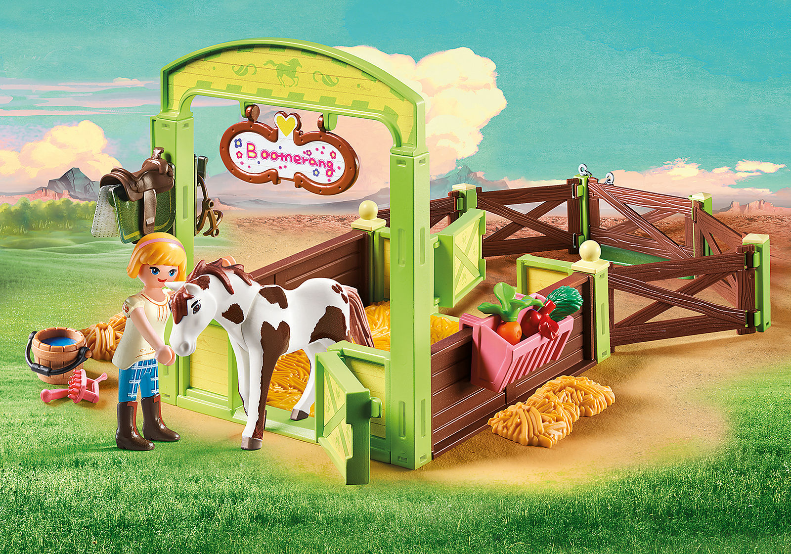 Spirit: Abigail & Boomerang with Horse Stall