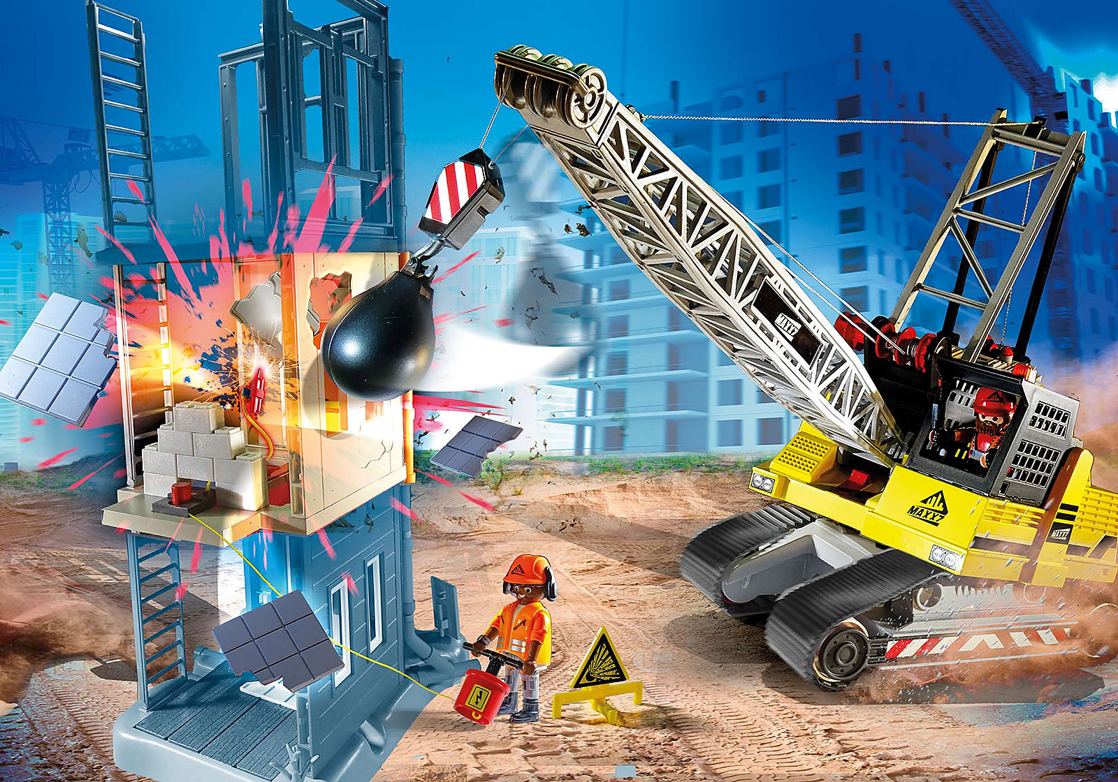 Cable Excavator with Building Section