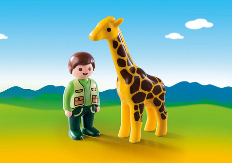 Zoo Keeper with Giraffe