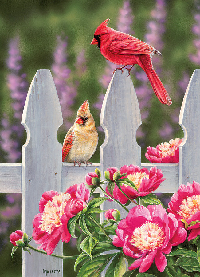 Cardinals and Peonies