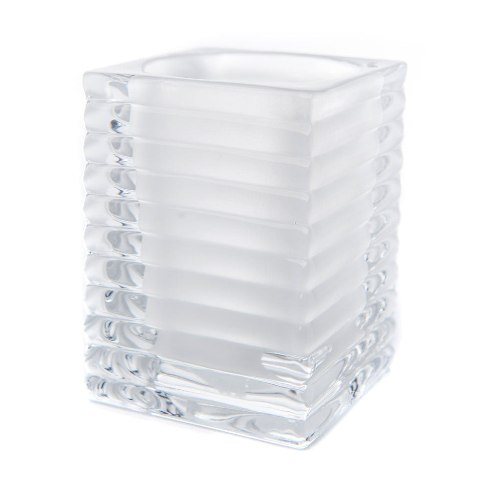 White Ribbed Glass Candle Holder (Case of 6) - The Amazing Flameless Candle